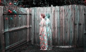 Elizabeth Joan Kelly, facing away full body portrait, color Holga effect