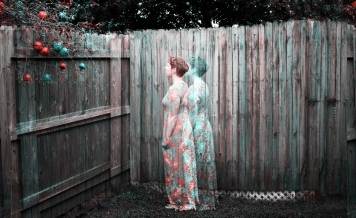Elizabeth Joan Kelly, facing away full body portrait, color Holga effect