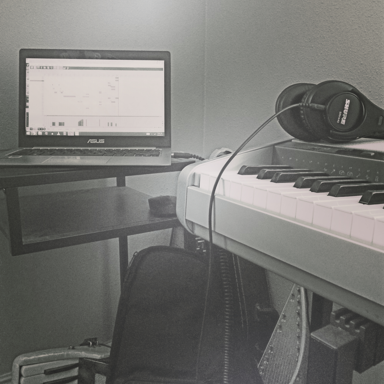 Asus laptop, Casio keyboard, Shure headphones