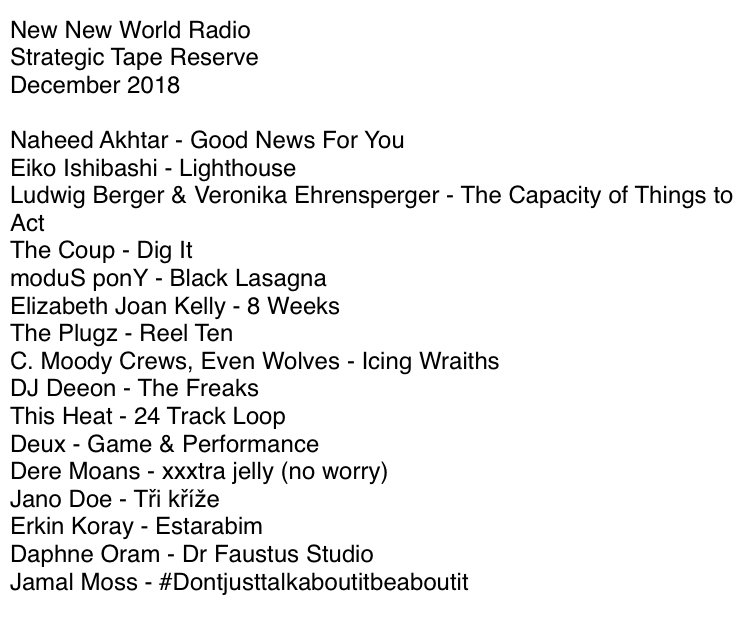 New New World Radio, Strategic Tape Reserve, December 2018: Naheed Akhtar - Good News For You; Eiko Ishibashi - Lighthouse; Ludwig Berger & Veronika Ehrensperger - The Capacity of Things to Act; The Coup - Dig It; moduS ponY - Black Lasagna; Elizabeth Joan Kelly - 8 Weeks; The Plugz - Reel Ten; C. Moody Crews, Even Wolves - Icing Wraiths; DJ Deeon - The Freaks; This Heat - 24 Track Loop; Deux - Game & Performance; Dere Moans -xxxtra jelly (no worry); Jano Doe - Tri krize; Erkin Koray - Estrabim; Daphne Oram - Dr Faustus Studio; Jamal Moss - #Dontjusttalkaboutitbeaboutit