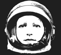 EJK as astronaut, black and white